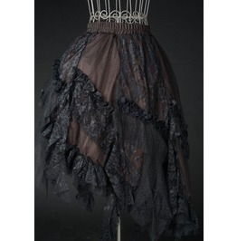 Brown Black Lacy Victorian Steampunk Ruffle Skirt $9 To Ship Worldwide
