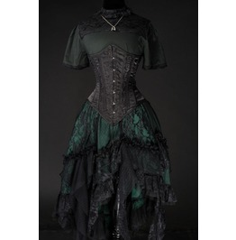 Deep Green Black Lacy Victorian Steampunk Ruffle Skirt $9 To Ship Worldwide