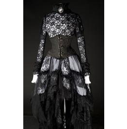 White Black Lacy Victorian Asymmetrical Ruffle Skirt $9 To Ship Worldwide