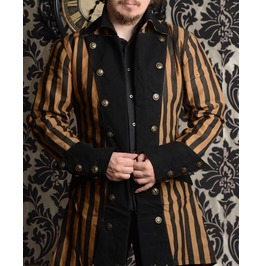Brown Black Steampunk Striped Pirate Jacket $9 Worldwide Shipping