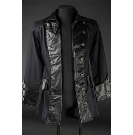 Mens Black Faux Leather Dieselpunk Pirate Jacket $5 Worldwide Shipping