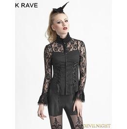 Black Gothic Romantic Lace Blouse For Women