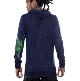 Lightweight Hoodie Stylish Sweatshirt In Blue Acid Wash Free Shipping Usa