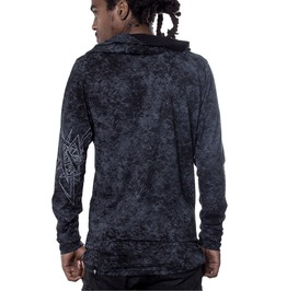 Acid Wash Lightweight Hoodie In Black With Gentle Graphic Print