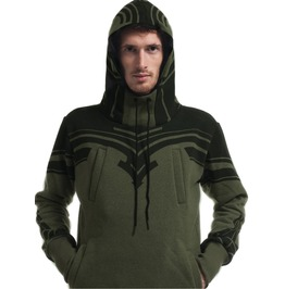 High Quality Mens Hoodie With Tribal Print In Olive Tattoo Worm And Cozy