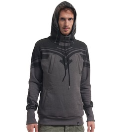 High Quality Mens Hoodie With Tribal Print In Grey Cozy And Worm Plazmalab