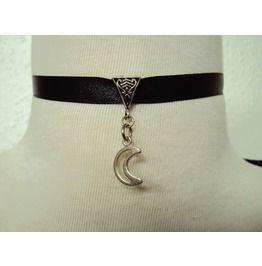 Crescent Moon On Black Ribbon Choker Necklace