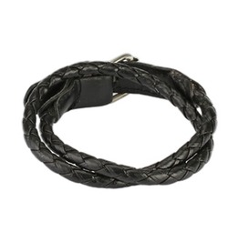 Black Multi Weaved Double Wrap Bracelet With Buckle End Design