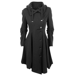 Kitty's Pretty Asymmetric Black Women's Overcoat 11431979tbb