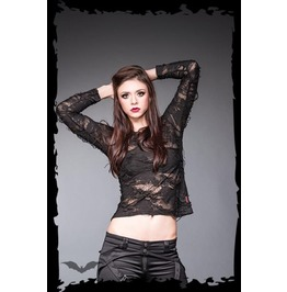Black Meshy See Through Burnout Long Sleeve Gothic Punk Shirt $9 To Ship