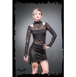 Black Lacy High Collar Long Sleeve Gothic Vampire Shirt $9 To Ship
