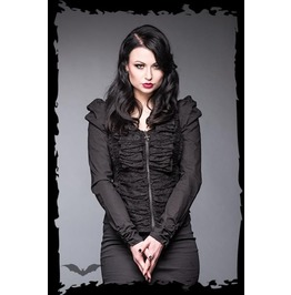 Black Gothic Open Back Front Zip Ruching Cardigan Sweater $9 To Ship