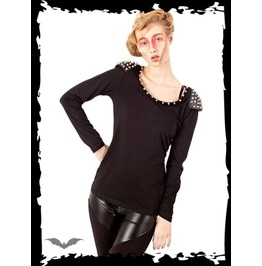 Black Studded Shoulder Warrior Long Sleeve Gothic Punk Shirt $9 To Ship