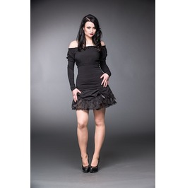 Girly Black Off The Shoulder Long Sleeve Victorian Gothic Shirt $9 To Ship