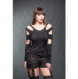 Black Cut Out Shoulder Removable Sleeve Gothic Punk Shirt $9 To Ship