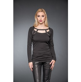 Black Ladies Cage Strap Long Sleeve Gothic Punk Shirt $9 To Ship Worldwide