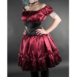 Deep Wine Red Satin Gothic Rockabilly Ruffle Dress $6 To Ship Worldwide