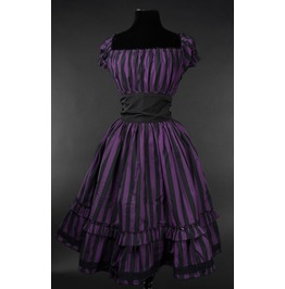Black Purple Stripe Gothic Rockabilly Pirate Gypsy Corset Dress