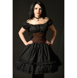 Black Cotton Gothic Rockabilly Ruffle Corset Dress $9 To Ship Worldwide
