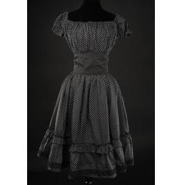 Black White Polkadot Gothic Rockabilly Ruffle Corset Dress $9 To Ship