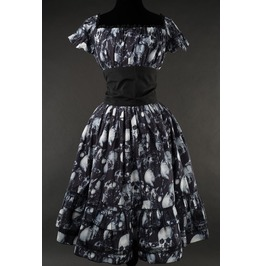 Black Grey Skull Gothic Rockabilly Ruffle Corset Dress $9 To Ship Worldwide