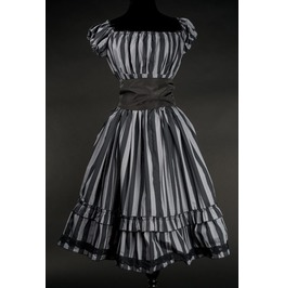 Grey Black Striped Gothic Rockabilly Ruffle Corset Dress $9 To Ship