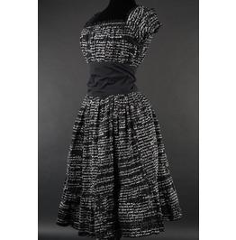 Black White Gothic Writing Rockabilly Ruffle Corset Dress $9 World Shipping