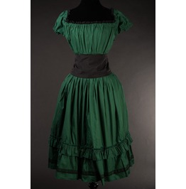 Green Black Cotton Gothic Rockabilly Pirate Corset Dress $9 World Shipping