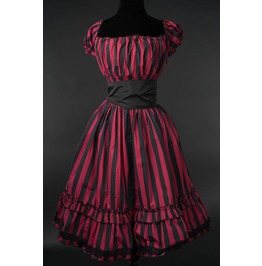 Red Black Striped Gothic Rockabilly Pirate Corset Dress $9 World Shipping