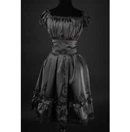Black Satin Gothic Rockabilly Pirate Gypsy Corset Dress