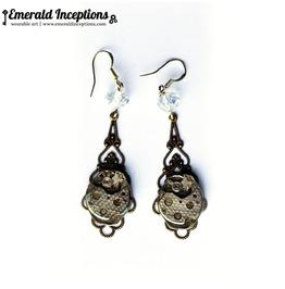 Steampunk Clockwork Oval Sterling Silver Earrings
