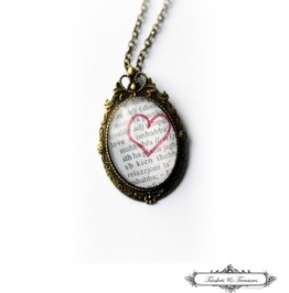 Love Vintage Dictionary Maltese Red Heart Cameo Brooch Necklace
