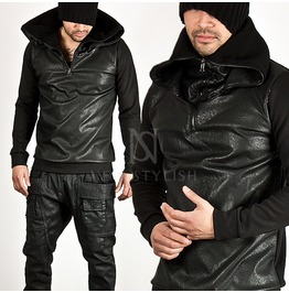 Double Layer Zip Up Collar Accent Leather Contrast Black Banded Hem Tee