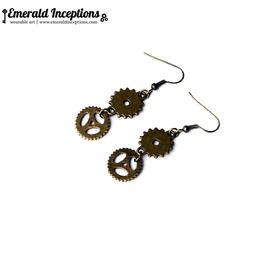 Bronze Antique Gears Cogs Earrings