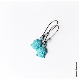 Laughing Buddha With Semi Precious Stone In Blue Turquoise