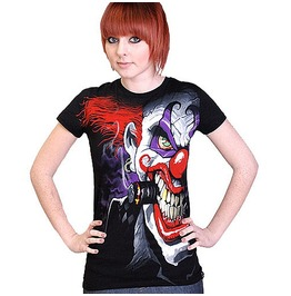 T Shirt Womens Girls Evil Clown Darkside Clothing
