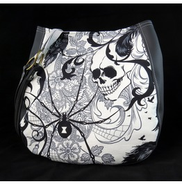 Black White Goth, Antique, Skull Spider Charla Purse Shoulder Purse