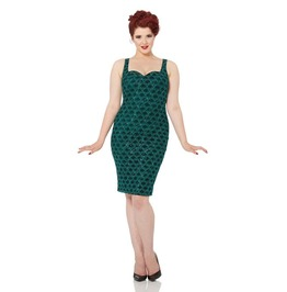 Voodoo Vixen Fleur Mermaid Green Sequin Wiggle Dress