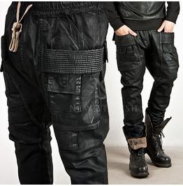 Squared Pocket Accent Coated Washing Black Sweatpants 142