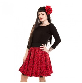 Red Leopard / Hearts Pattern Swing Skirt High Waisted Rockabilly Style