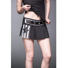 Black White Stripe Pleated Punk Micro Mini Skirt $9 Worldwide Shipping