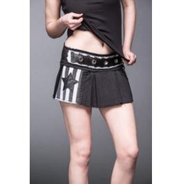 Black White Stripe Pleated Punk Micro Mini Skirt $9 Worldwide Shipping