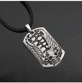 Stainless Steel Men Skull Wing Pendant Necklace