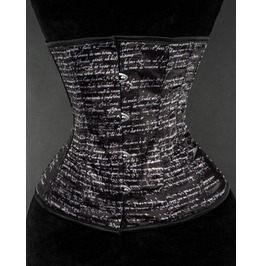 Steel Boned Black White Print Underbust Corset $5 Worldwide Shipping