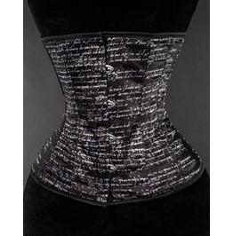 Steel Boned Black White Print Underbust Corset $9 Worldwide Shipping