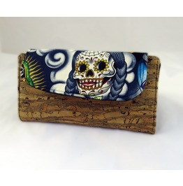 Sugar Skull Contigo Multi Fiona Wallet With Cork Accents Vegan
