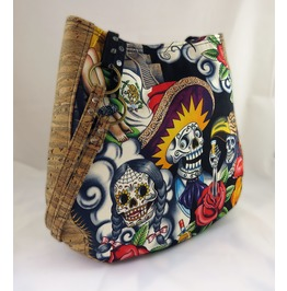 Sugar Skull Contigo Purse Charla Over The Shoulder Purse With Cork Accents