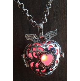 Winged Red Heart Glowing Orb Pendant Necklace Locket Antique Silver