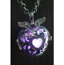 Winged Purple Heart Glowing Orb Pendant Necklace Locket Antique Silver