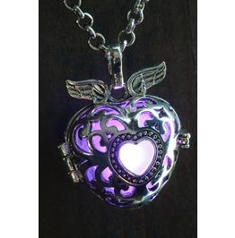 Winged Purple Heart Glowing Orb Pendant Necklace Locket Antique Silver